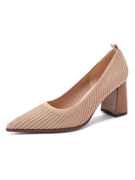 Milanoo Women\'s Pumps Slip-On Pointed Toe Color Block Chunky Heel Retro Vintage Shoes