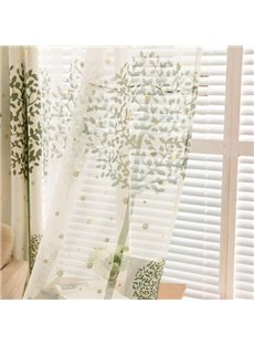 Country Style Green Tree Printing Custom Sheer Curtain