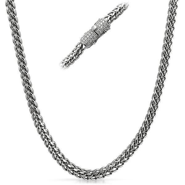 6MM CZ Diamond Clasp Chain Stainless Steel (24 Inches)