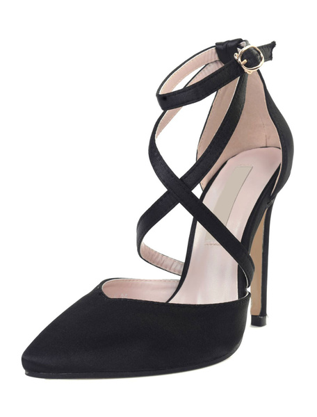 Milanoo Satin High Heels Grey Pointed Toe Criss Cross Ankle Strap Pumps For Women