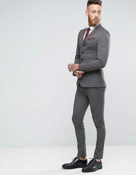 3 Buttons Slim Fitted Suit Flat Front Pants Side Vented Black