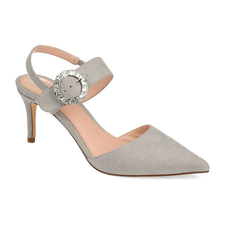 Journee Collection Womens Cecelia Pointed Toe Stiletto Heel Pumps, 7 Medium, Gray