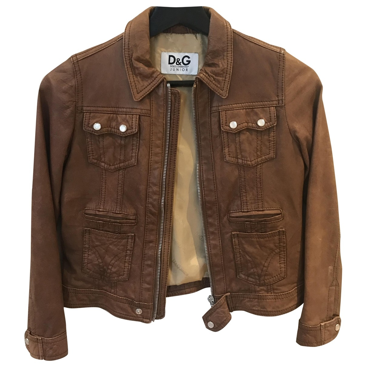 D&g \N Camel Leather jacket & coat for Kids 8 years - up to 128cm FR
