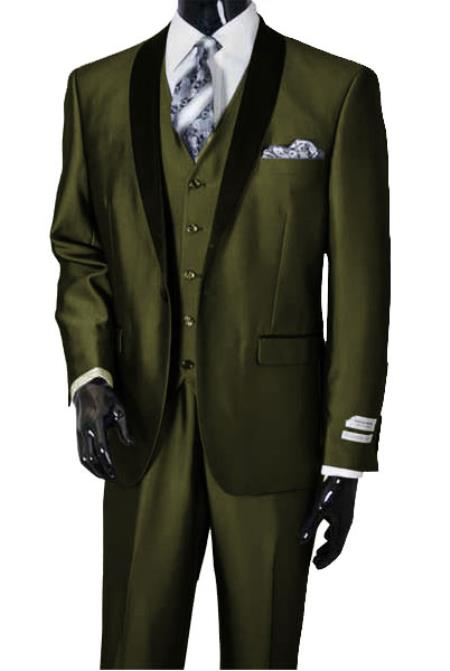 Men's Dark Olive Shawl Lapel Sharkskin Shiny Vested Suit