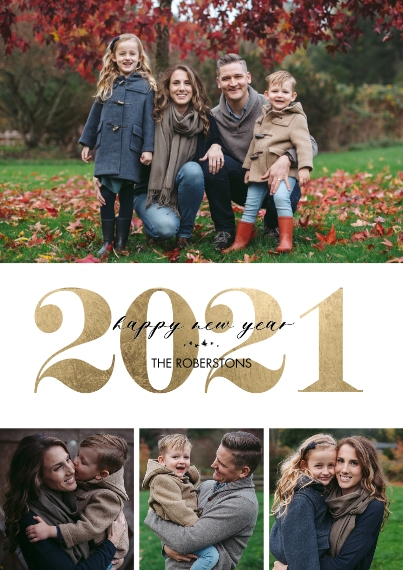 New Year's Photo Cards 5x7 Cards, Premium Cardstock 120lb, Card & Stationery -2021 New Year Gold Overlay by Tumbalina