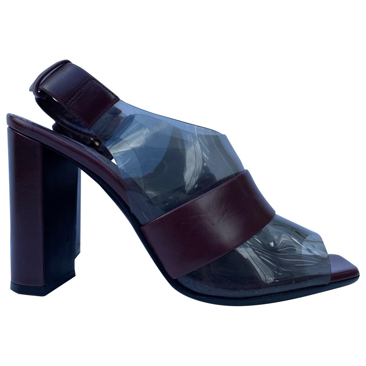Celine \N Burgundy Leather Sandals for Women 36.5 EU