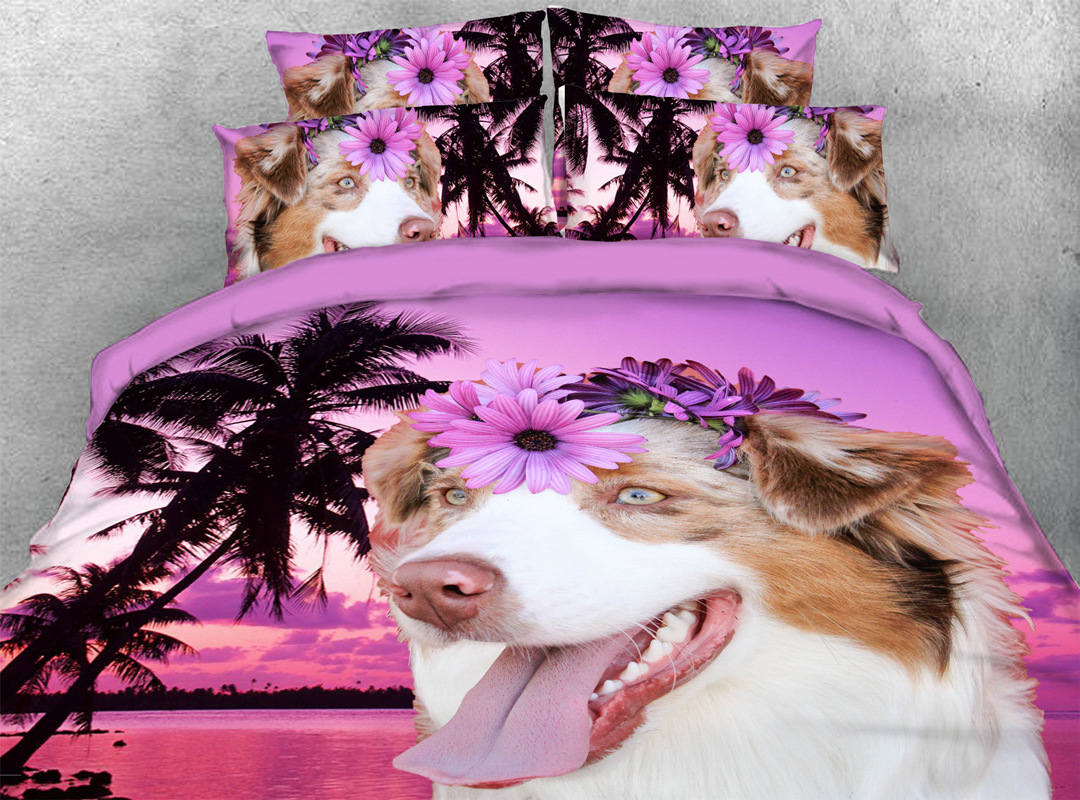 Dog on Holiday 3D 4pcs Animal No-fading Bedding Sets Soft Durable Zipper Duvet Cover with Non-slip Ties