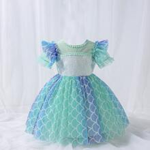 Toddler Girls Color Block Contrast Sequin Bow Back Gown Dress