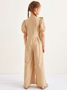 Girls Puff Sleeve Ruffle Detail Palazzo Jumpsuit