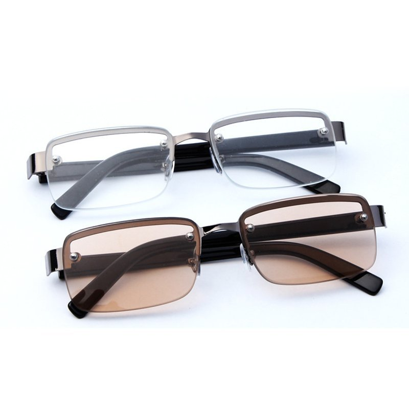Reading Glasses Perforated Half Frame Brown White Crystal Reading Glasses PersonalEye Care