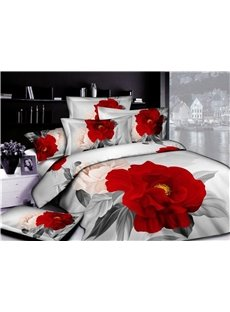 3D Red And Pink Roses Printed 5-Piece Comforter Sets