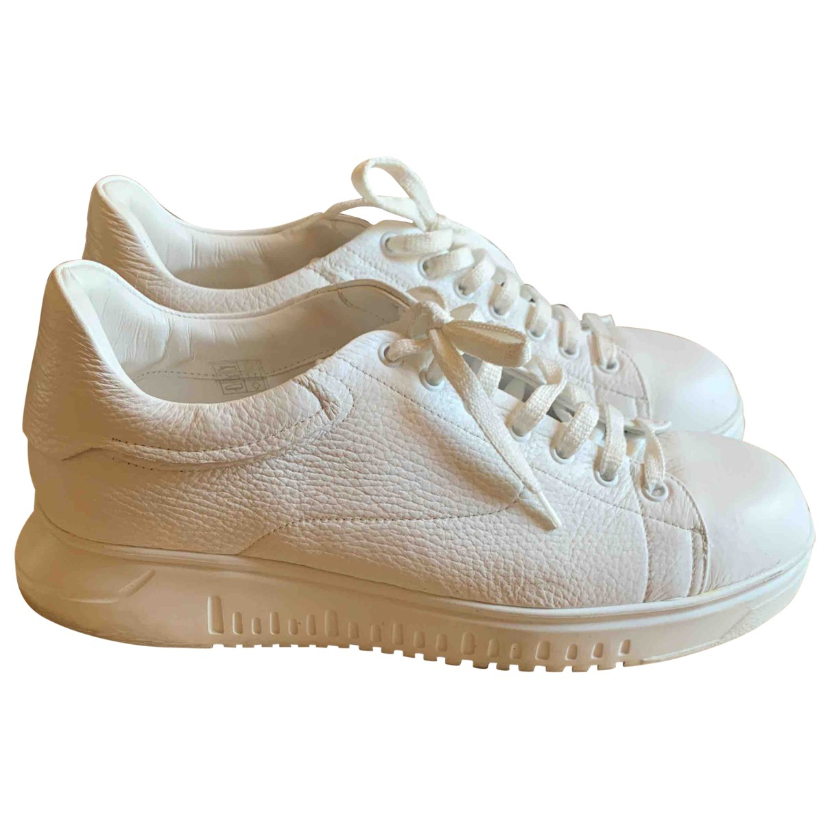 Emporio Armani \N White Leather Trainers for Men 8.5 UK