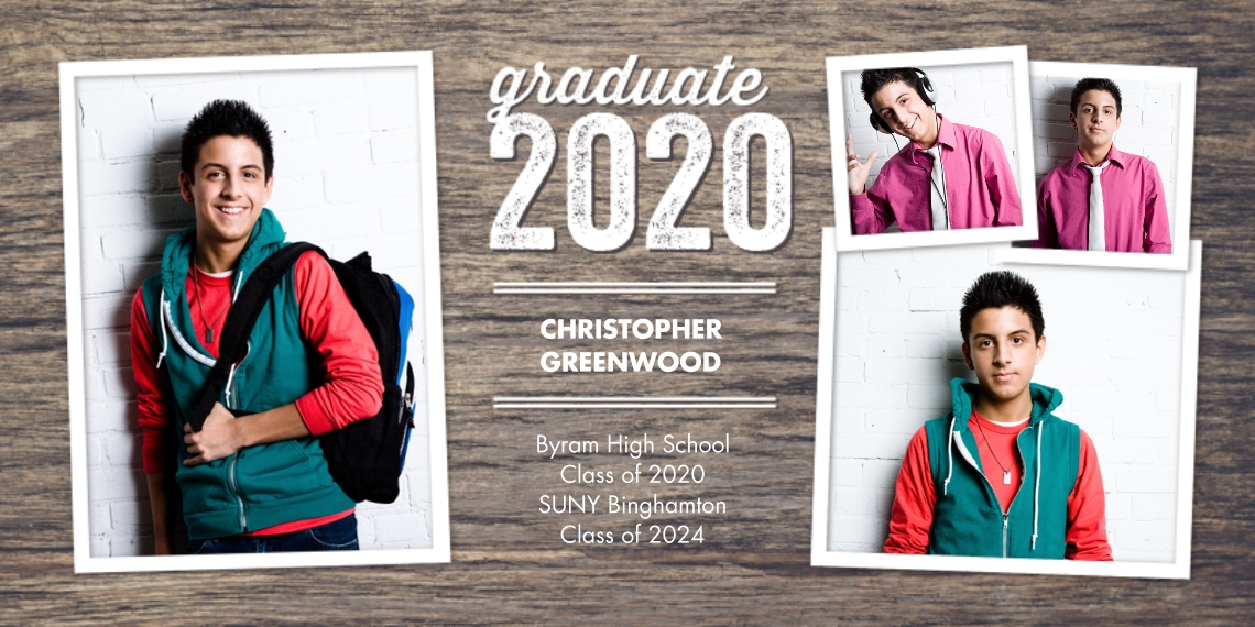 2020 Graduation Announcements Flat Glossy Photo Paper Cards with Envelopes, 4x8, Card & Stationery -2020 Graduate Woodgrain by Tumbalina