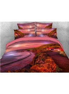 Autumn Lake 3D Scenery Comforter Soft Lightweight Warm 5-Piece Comforter Sets