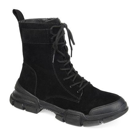 Journee Collection Womens Gretta Combat Boots Block Heel, 11 Medium, Black