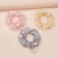 3pcs Faux Pearl Decor Scrunchie