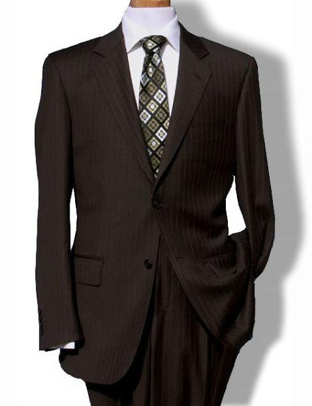 Mens Two Button Brown Pinstripe Suit