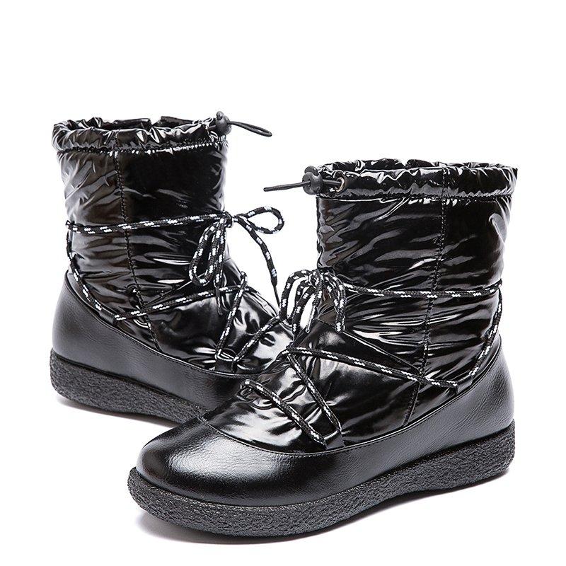Plus Size Women Winter Lightweight Waterproof Plush Lining Strappy Zipper Flat Boots