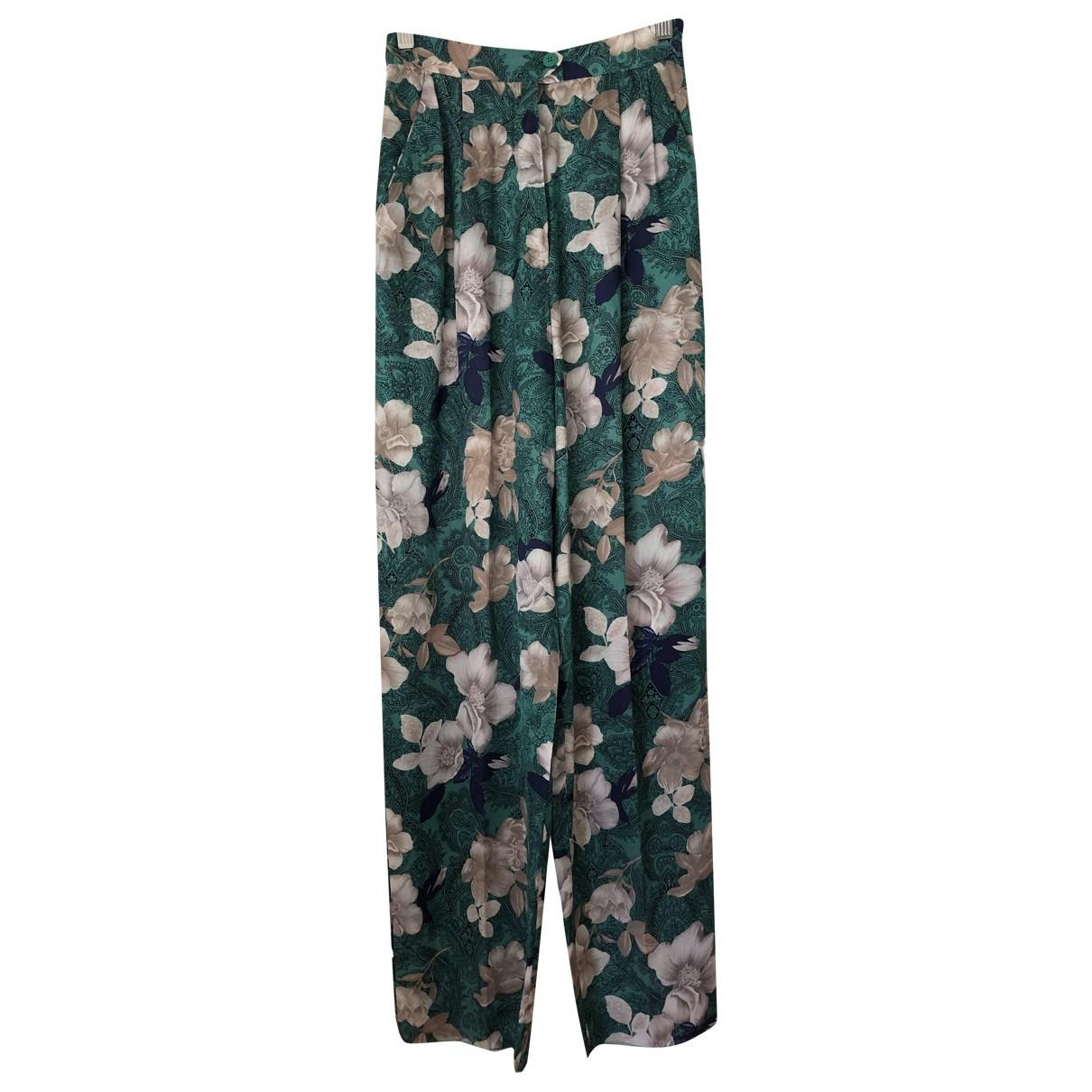 Mila Schön Concept \N Green Silk Trousers for Women 40 IT