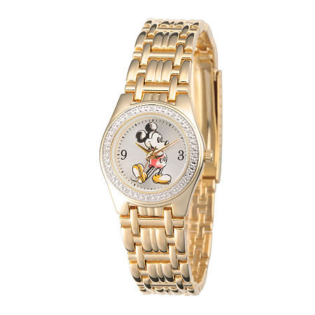 Disney Womens Gold-Tone Metal Alloy Strap Mickey Mouse Bracelet Watch, One Size , No Color Family
