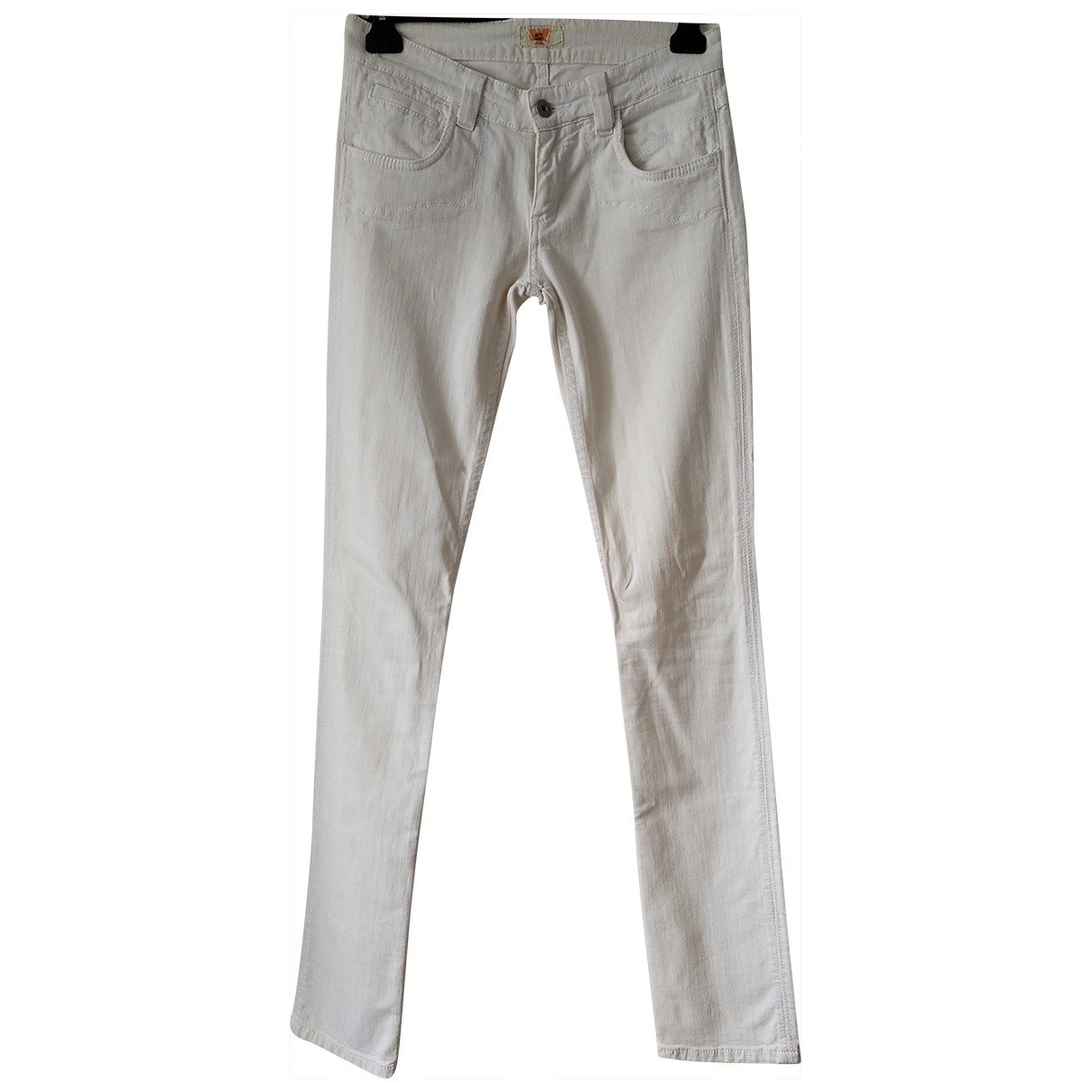 Non Signé / Unsigned \N White Cotton Trousers for Women 38 FR