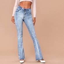 Button Fly Flare Leg Light Wash Jeans