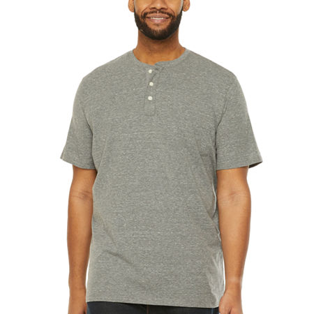 The Foundry Big & Tall Supply Co.-Big Mens Short Sleeve Henley Shirt, 3x-large Tall , Gray