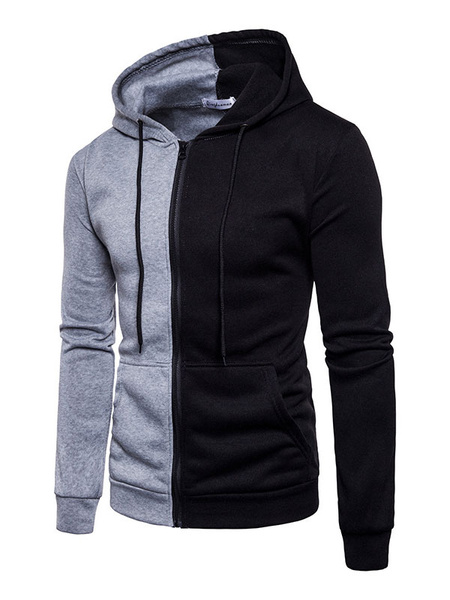Milanoo Men's Split Color Full Zip Drawstring Hoodie