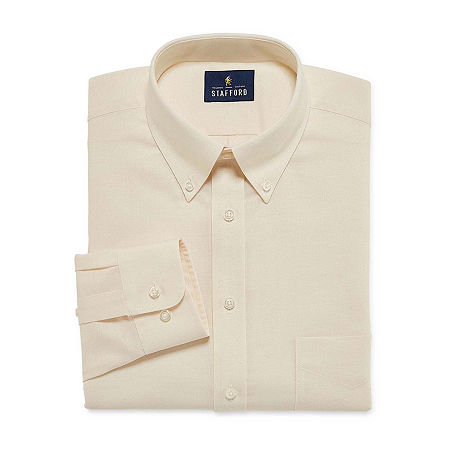 Stafford Mens Wrinkle Free Oxford Button Down Collar Fitted Dress Shirt, 18 36-37, Beige
