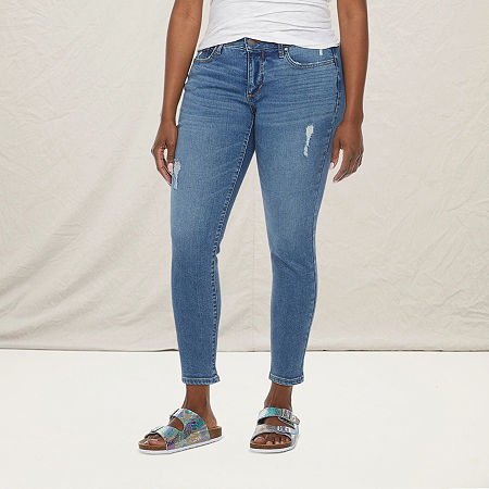 a.n.a-Tall Womens Mid Rise Skinny Ankle Jean, 10 Tall , Blue