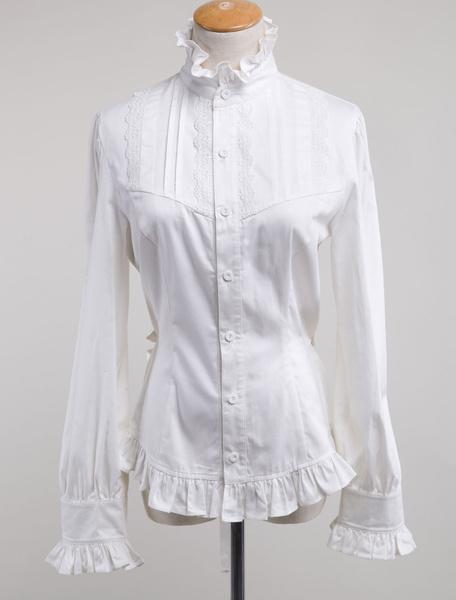 Milanoo White Lolita Blouse Cotton Long Sleeves High Collar Ruffles Lolita Top