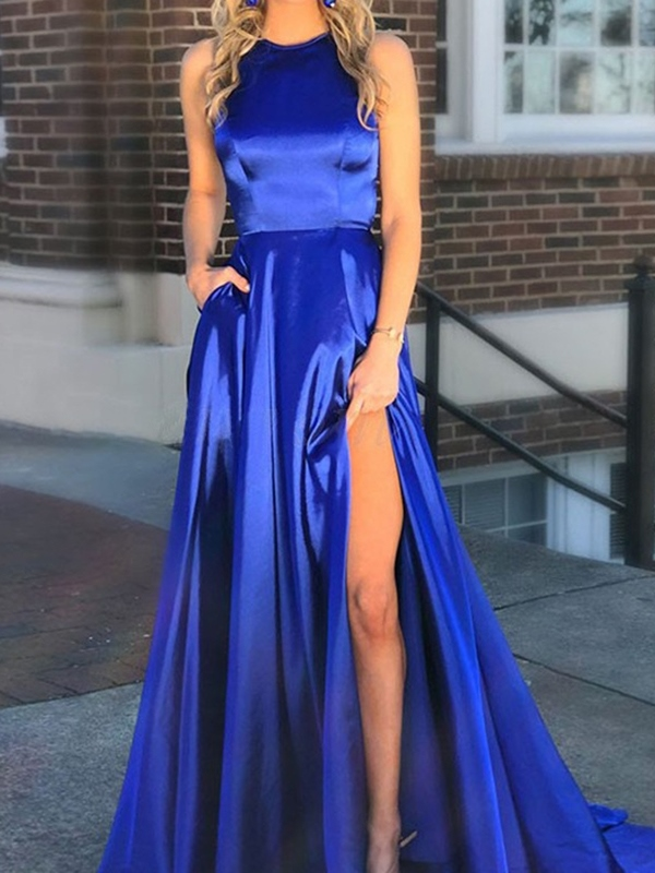 Split-Front Scoop A-Line Floor-Length Prom Dress