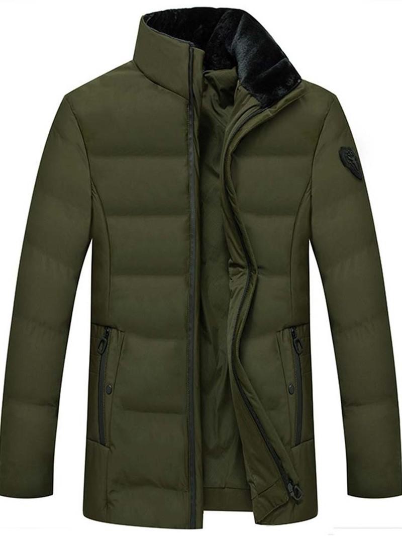 Ericdress Mid-Length Stand Collar Plain Casual Zipper Men's Down Jacket
