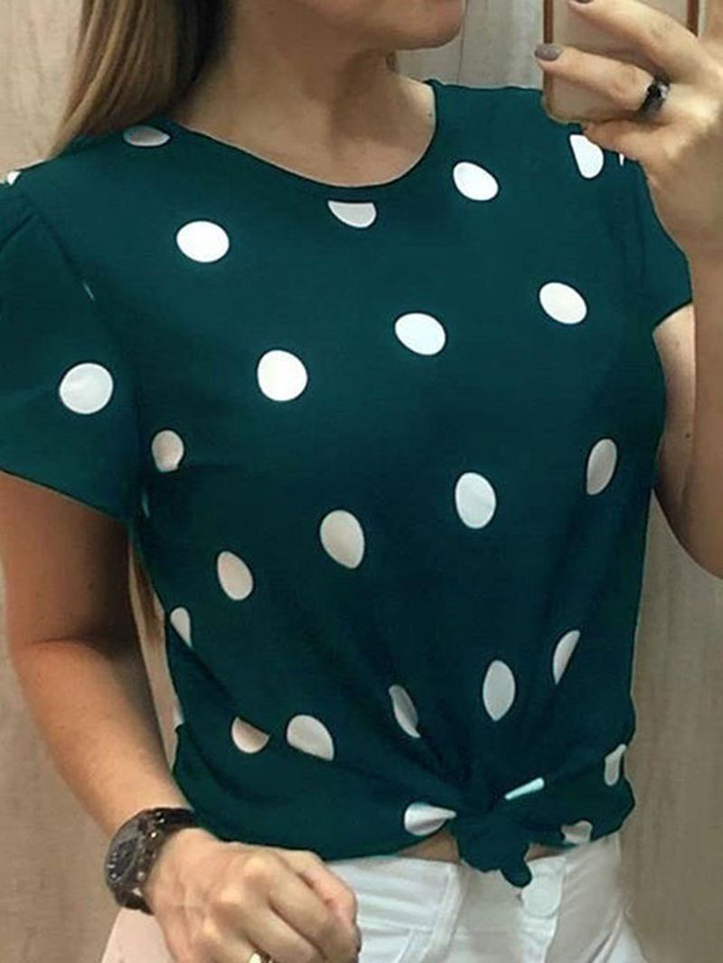 Ericdress Short Sleeve Polka Dots Round Neck Summer Slim T-Shirt