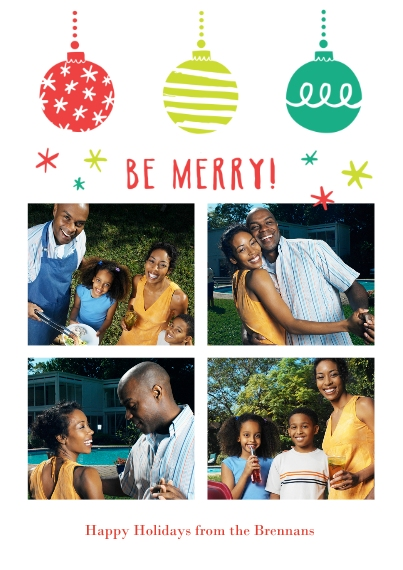 Holiday Photo Cards 5x7 Cards, Standard Cardstock 85lb, Card & Stationery -Be Merry Ornaments