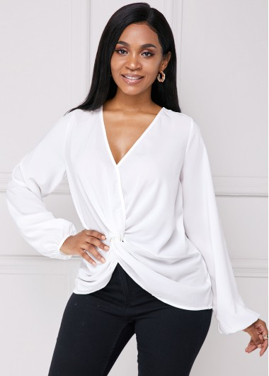 Tie Back Long Sleeve Knotted Hem Blouse - S