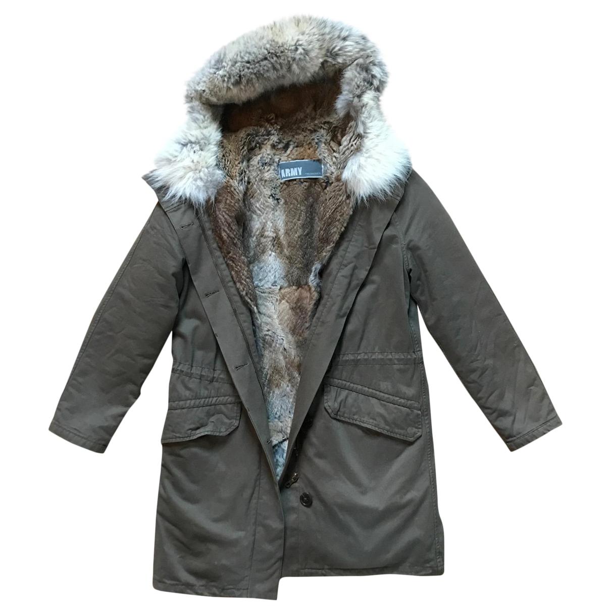 Yves Salomon \N Khaki Fur coat for Women 38 FR