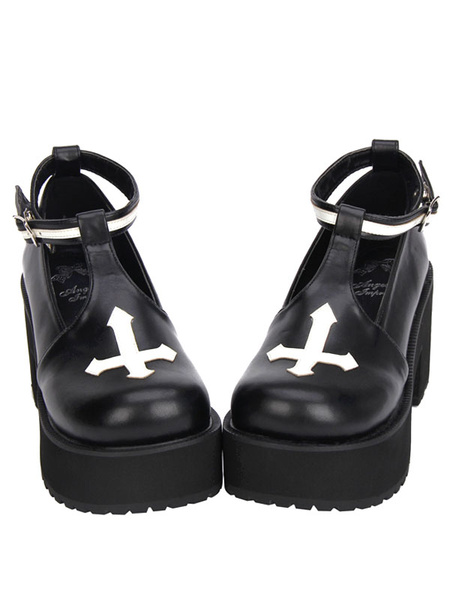 Milanoo Gothic Lolita Shoes Cross Platform Pumps Ankle Strap Gothic Lolita Shoes With Chunky Heel Pumps