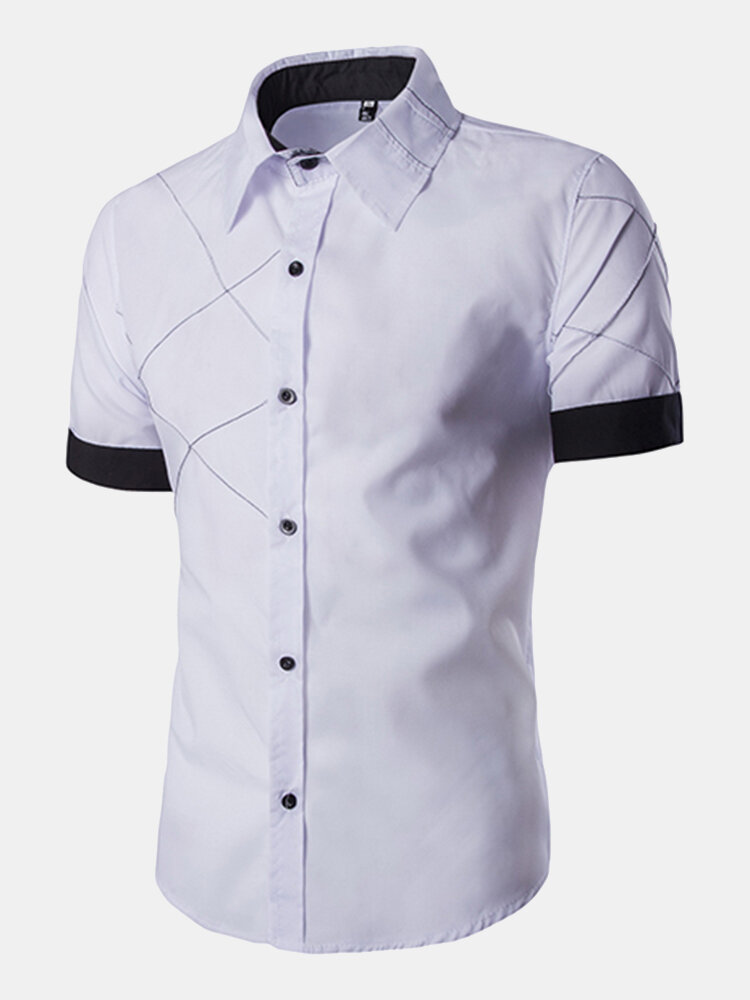 Casual Plaid Stitching Color Short Sleeve Turn Down Collar Shirts for Men