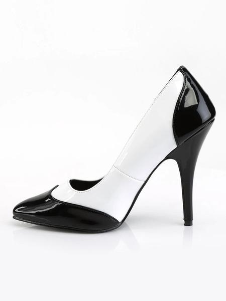 Milanoo Women's Pumps Slip-On Pointed Toe Stiletto Heel Sequins Vintage Shoes Split Color Pumps