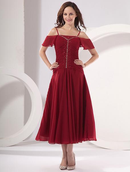 Milanoo Burgundy Off-The-Shoulder Mother of the Bride Dress