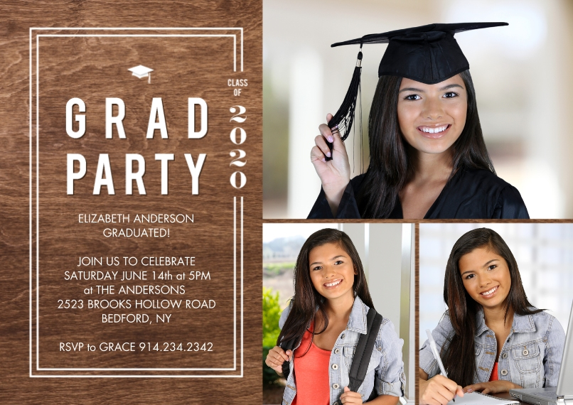 Graduation Invitations 5x7 Cards, Premium Cardstock 120lb with Scalloped Corners, Card & Stationery -2020 Grad Party Woodgrain by Tumbalina
