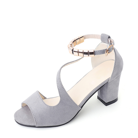Yoins Grey Chunky Heel Sandals with Ankle Strap