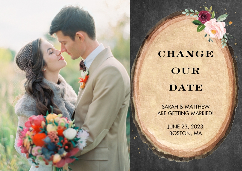 Change the Date Flat Glossy Photo Paper Cards with Envelopes, 5x7, Card & Stationery -Change the Date Wood Floral by Tumbalina