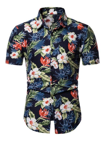 Milanoo Men Floral Shirt Print Navy Blue Short Sleeve Beach Shirt