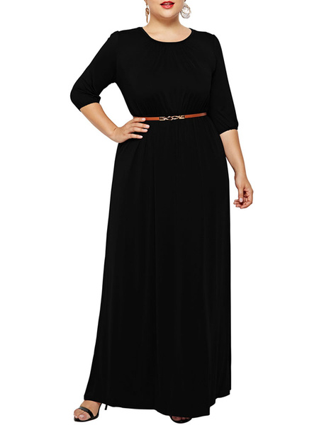 Milanoo Elegant Plus Size Evening Dress Long Gown Maxi Dress Long Sleeve Wedding Party Dress Dinner Dress Plus Size Gown