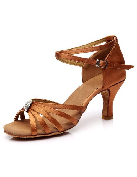 Milanoo Latin Dance Sandals Cut Out Straps Satin Heels Ballroom Dance Shoes