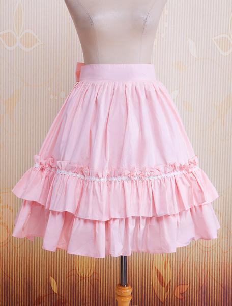 Milanoo Cotton Pink Ruffles & Bow Lolita Skirt