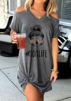 Presale - Mom Life Skull Leopard Glasses Mini Dress - Dark Grey