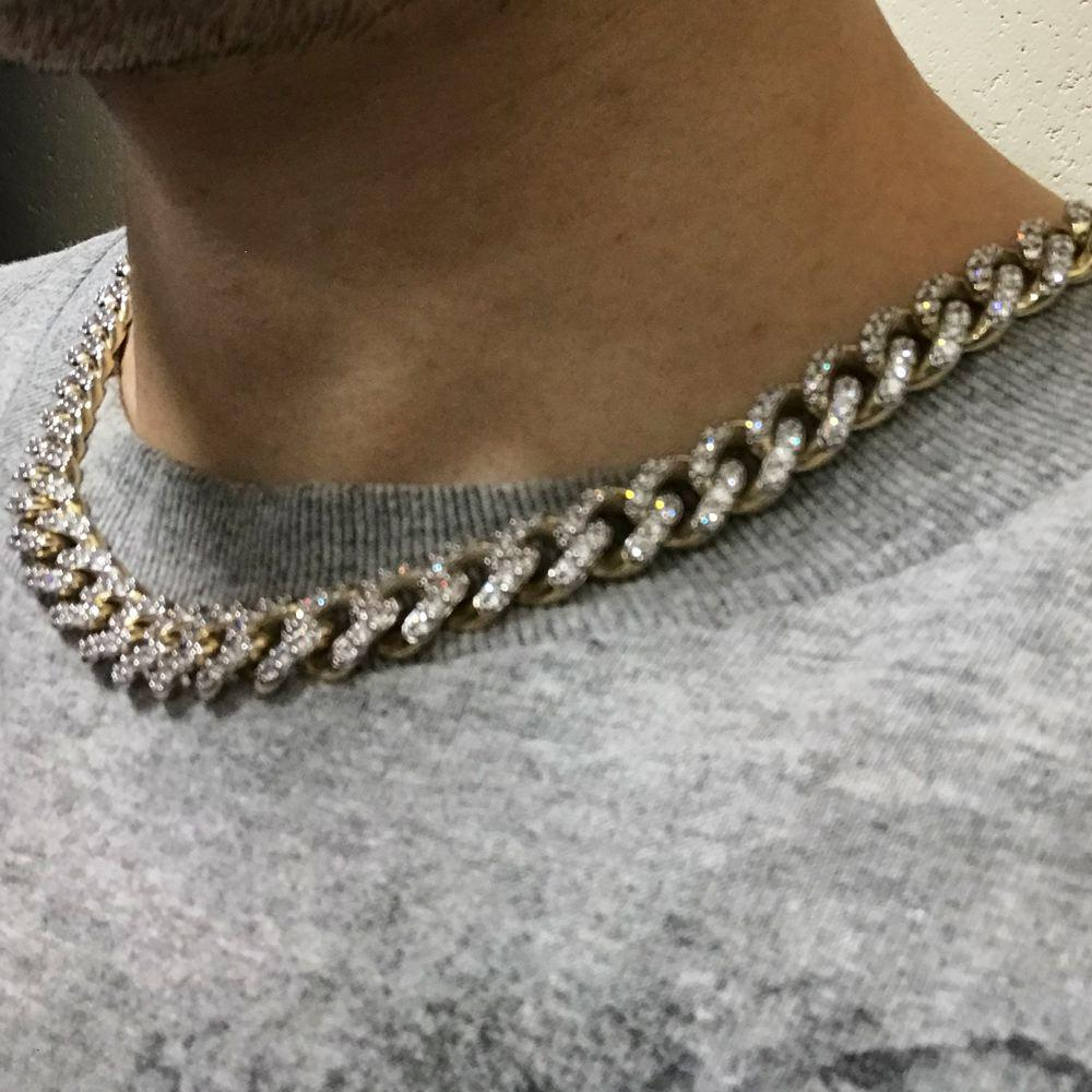 10K Yellow Gold CZ Turkish Cuban Iced Out Chain